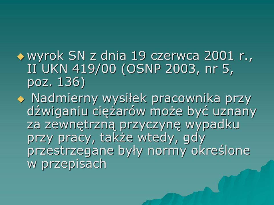  wyrok SN z dnia 19 czerwca 2001 r., II UKN 419/00 (OSNP 2003, nr 5, poz. 136)  Nadmierny wysiłek pracownika przy dźwiganiu ciężarów może być uznany