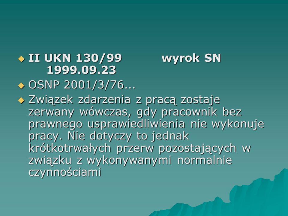  II UKN 130/99wyrok SN 1999.09.23  OSNP 2001/3/76...  Związek zdarzenia z pracą zostaje zerwany wówczas, gdy pracownik bez prawnego usprawiedliwien