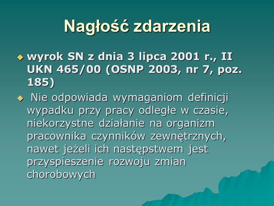  II UKN 70/96wyrok SN 1997.01.29  OSNP 1997/18/357  Nadmierny wysiłek podczas pracy, który z największym prawdopodobieństwem, wespół z samoistnym nadciśnieniem tętniczym wywołał u pracownika udar mózgu, stanowi przyczynę zewnętrzną wypadku