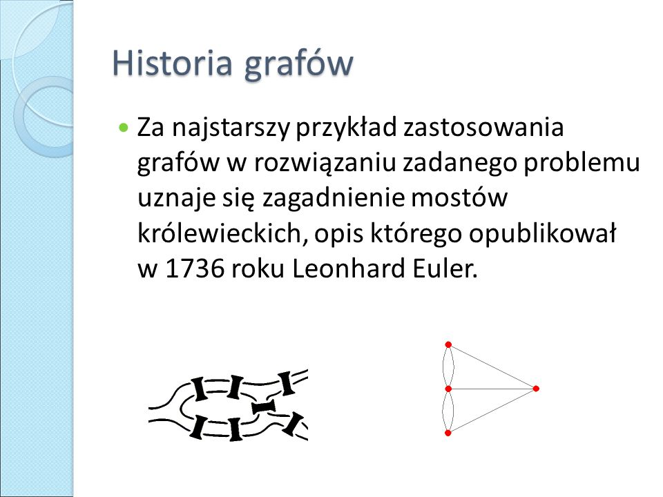 Historia grafów Za najstarszy przykład zastosowania grafów w rozwiązaniu zadanego problemu uznaje się zagadnienie mostów królewieckich, opis którego o