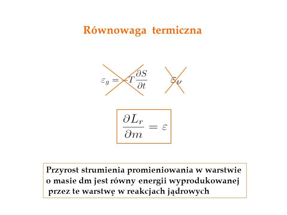 Równowaga termiczna Przyrost strumienia promieniowania w warstwie o masie dm jest równy energii wyprodukowanej przez te warstwę w reakcjach jądrowych