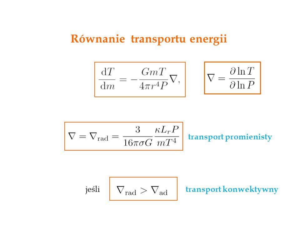 Równanie transportu energii transport promienisty transport konwektywny jeśli