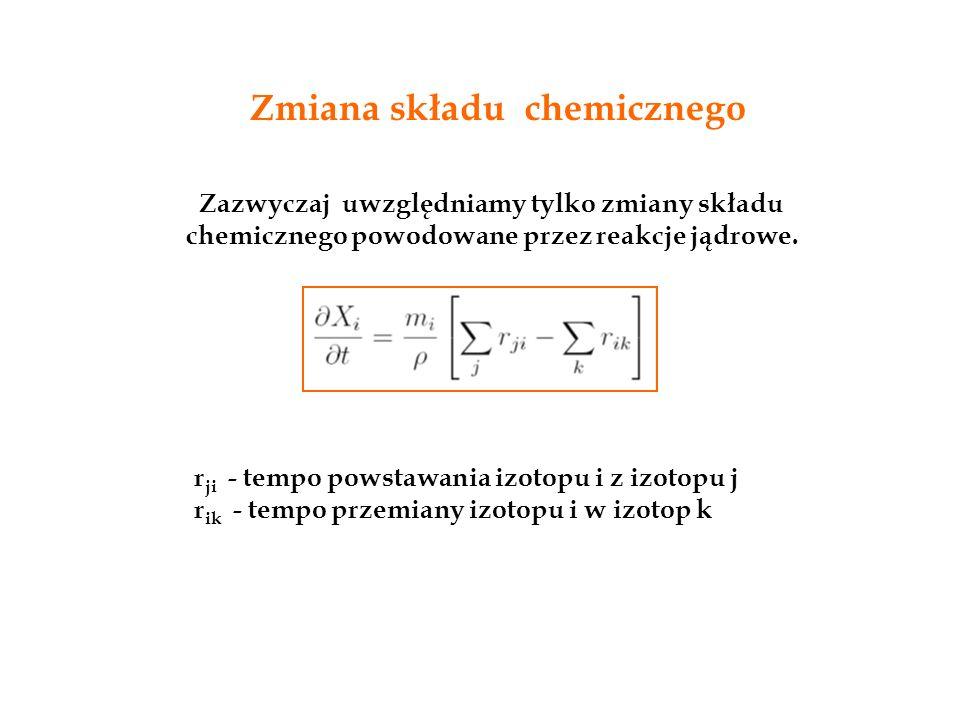 Zmiana składu chemicznego Zazwyczaj uwzględniamy tylko zmiany składu chemicznego powodowane przez reakcje jądrowe. r ji - tempo powstawania izotopu i