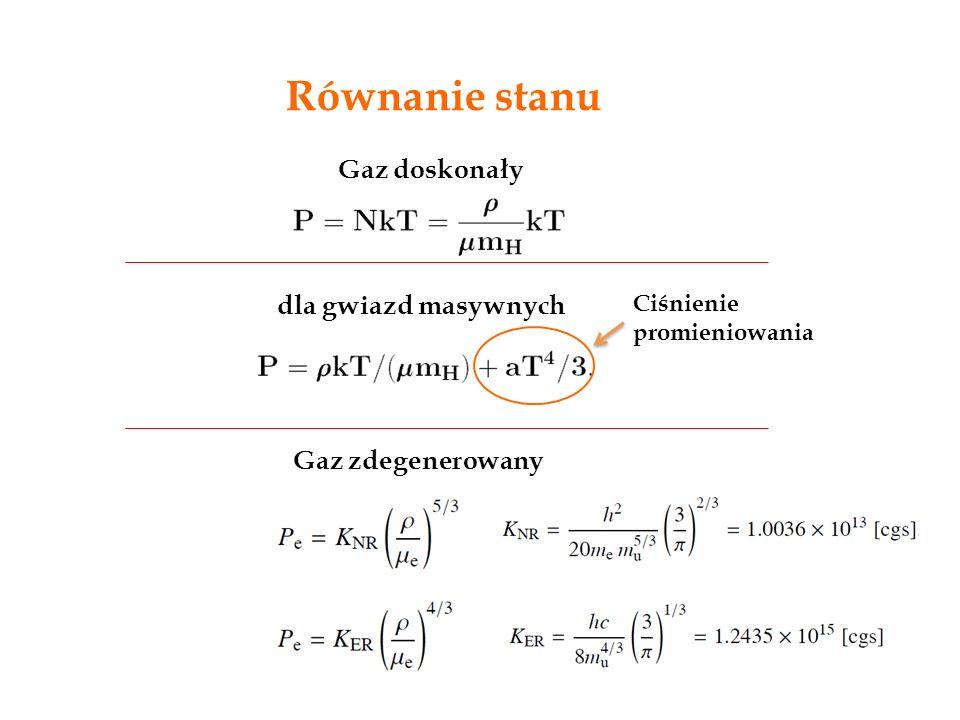 Równanie stanu Gaz doskonały dla gwiazd masywnych Ciśnienie promieniowania Gaz zdegenerowany