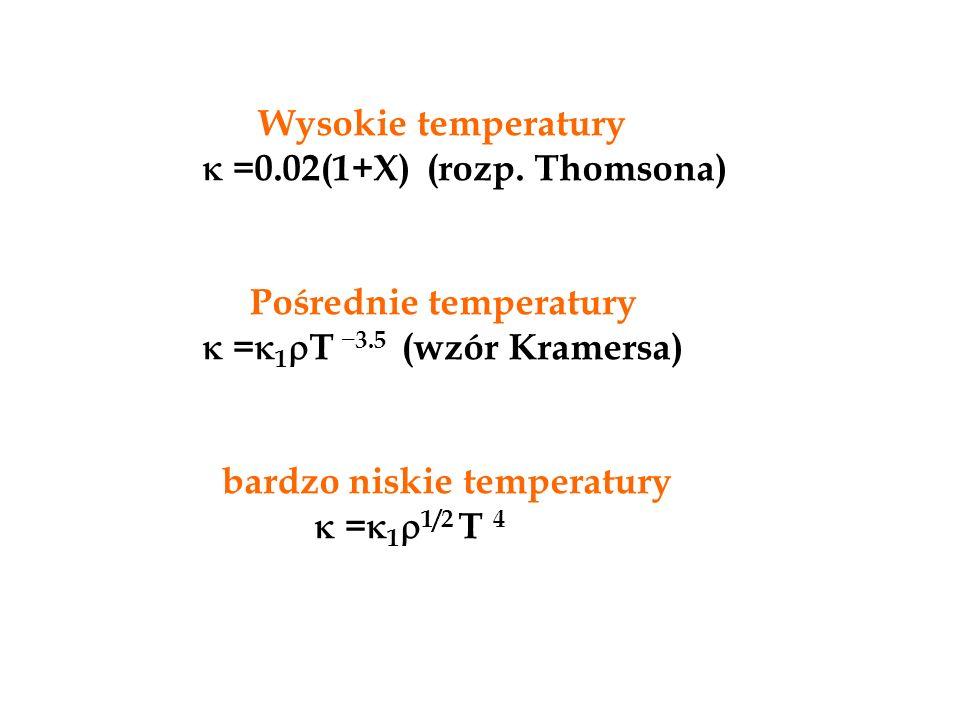 Wysokie temperatury  =0.02(1+X) (rozp. Thomsona) Pośrednie temperatury  =  1  T _ 3.5 (wzór Kramersa) bardzo niskie temperatury  =  1  1/2 T 4