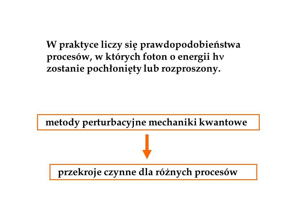 W praktyce liczy się prawdopodobieństwa procesów, w których foton o energii h zostanie pochłonięty lub rozproszony. metody perturbacyjne mechaniki kwa