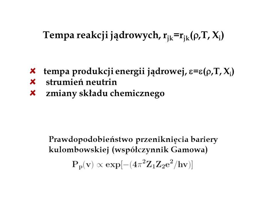 Tempa reakcji jądrowych, r jk =r jk ( ,T, X i ) tempa produkcji energii jądrowej,  =  ( ,T, X i ) strumień neutrin zmiany składu chemicznego Prawd