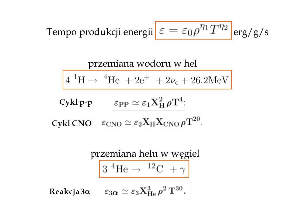 Tempo produkcji energii erg/g/s Cykl p-p Cykl CNO przemiana wodoru w hel przemiana helu w węgiel Reakcja 3 
