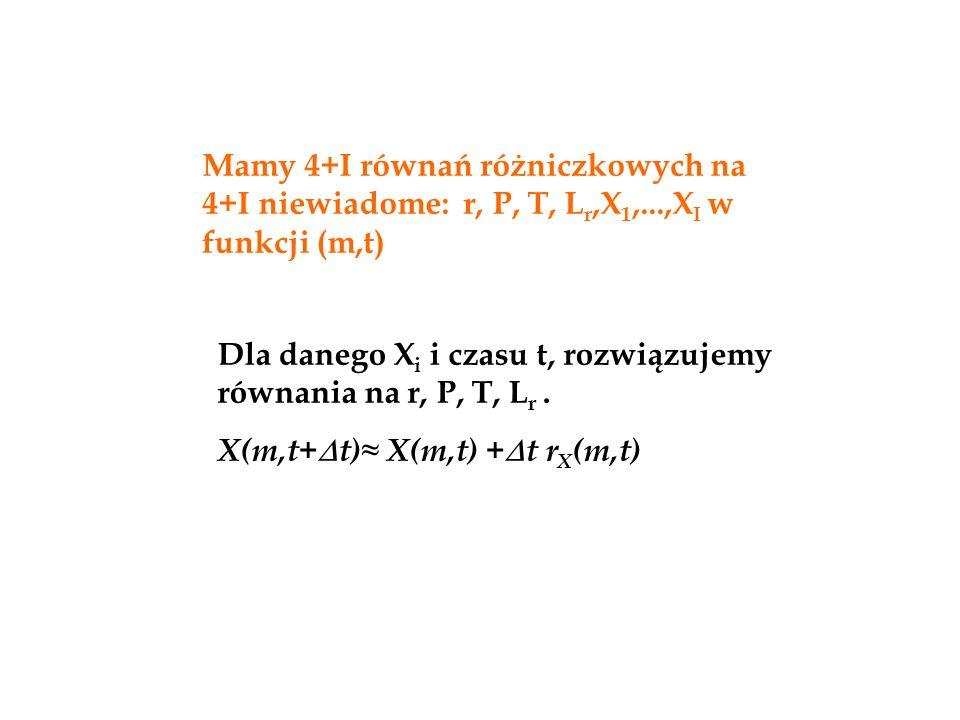 Dla danego X i i czasu t, rozwiązujemy równania na r, P, T, L r. X(m,t+  t)≈ X(m,t) +  t r X (m,t) Mamy 4+I równań różniczkowych na 4+I niewiadome: