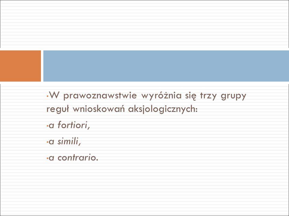 W prawoznawstwie wyróżnia się trzy grupy reguł wnioskowań aksjologicznych: a fortiori, a simili, a contrario.