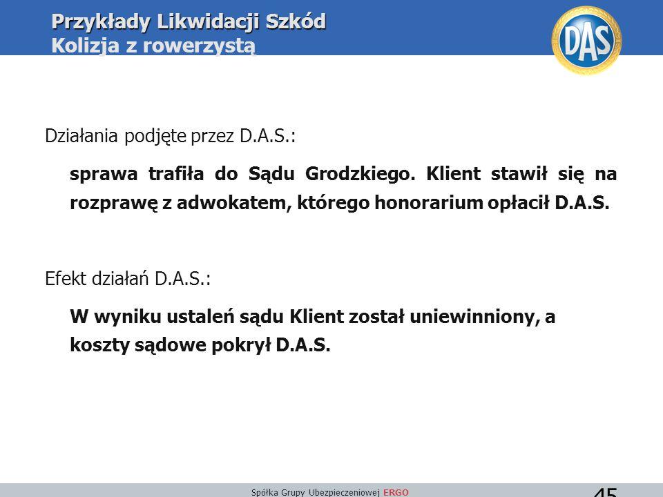 Spółka Grupy Ubezpieczeniowej ERGO 45 Działania podjęte przez D.A.S.: sprawa trafiła do Sądu Grodzkiego.