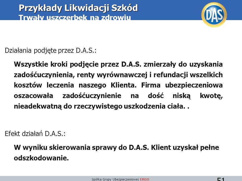 Spółka Grupy Ubezpieczeniowej ERGO 51 Działania podjęte przez D.A.S.: Wszystkie kroki podjęcie przez D.A.S.