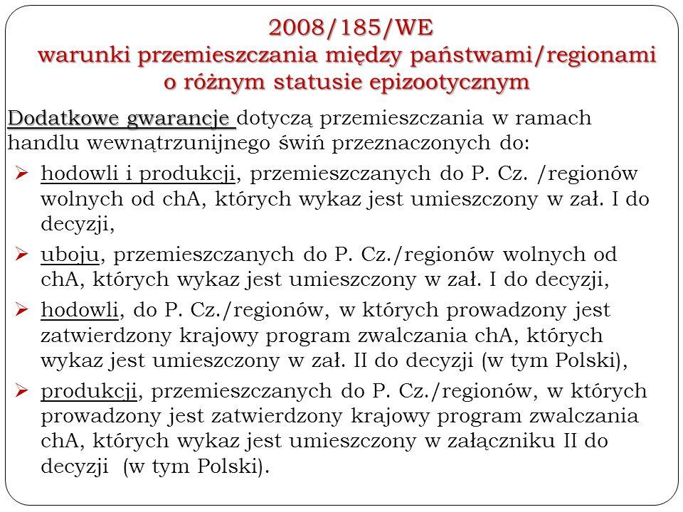 2008/185/WE warunki przemieszczania między państwami/regionami o różnym statusie epizootycznym 2008/185/WE warunki przemieszczania między państwami/re