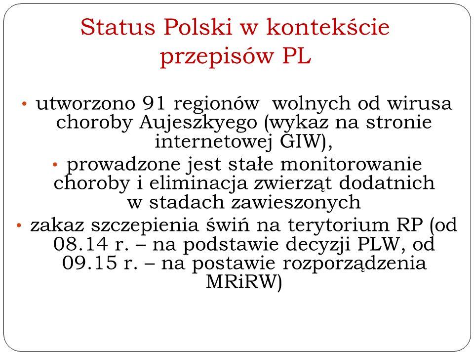 Status Polski w kontekście przepisów PL utworzono 91 regionów wolnych od wirusa choroby Aujeszkyego (wykaz na stronie internetowej GIW), prowadzone je