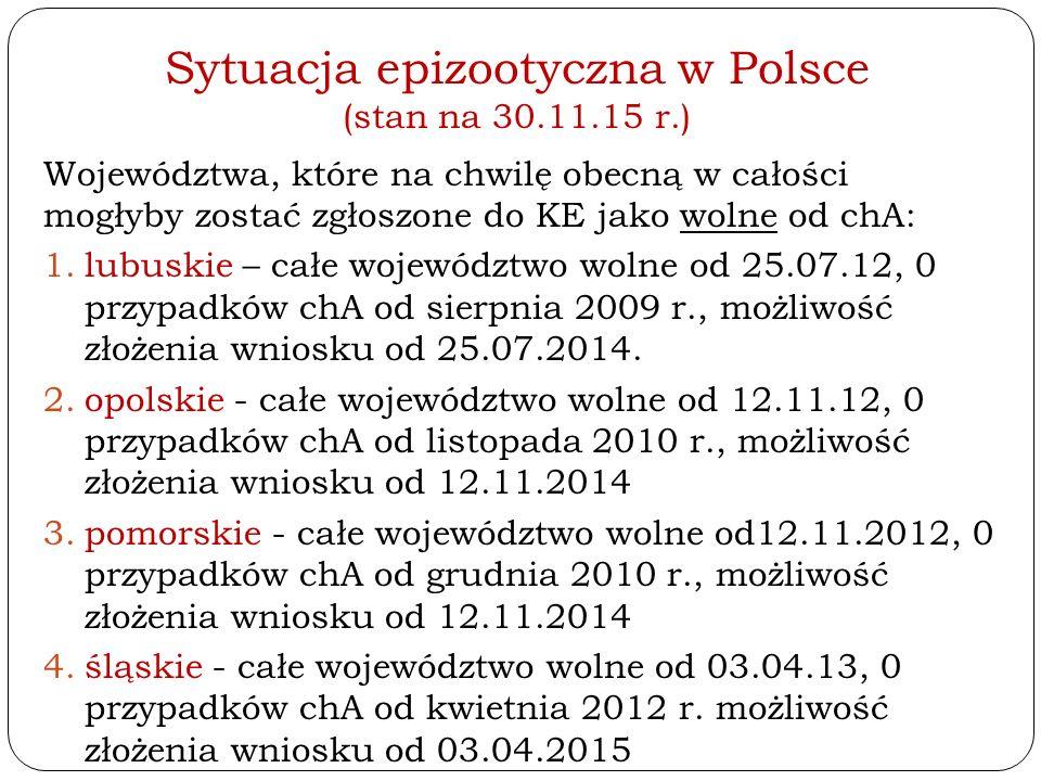 Sytuacja epizootyczna w Polsce (stan na 30.11.15 r.) Województwa, które na chwilę obecną w całości mogłyby zostać zgłoszone do KE jako wolne od chA: 1