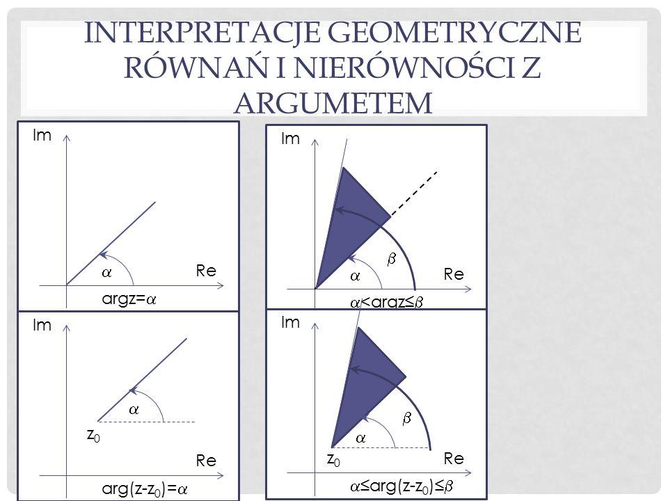 INTERPRETACJE GEOMETRYCZNE RÓWNAŃ I NIERÓWNOŚCI Z ARGUMETEM Re Im argz=   Re Im  <argz≤   Re Im arg(z-z 0 )=   Re Im  ≤arg(z-z 0 )≤  z0z0    z0z0