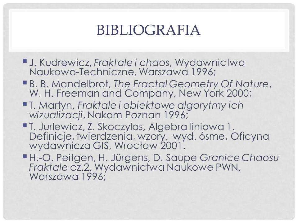 BIBLIOGRAFIA  J. Kudrewicz, Fraktale i chaos, Wydawnictwa Naukowo-Techniczne, Warszawa 1996;  B.