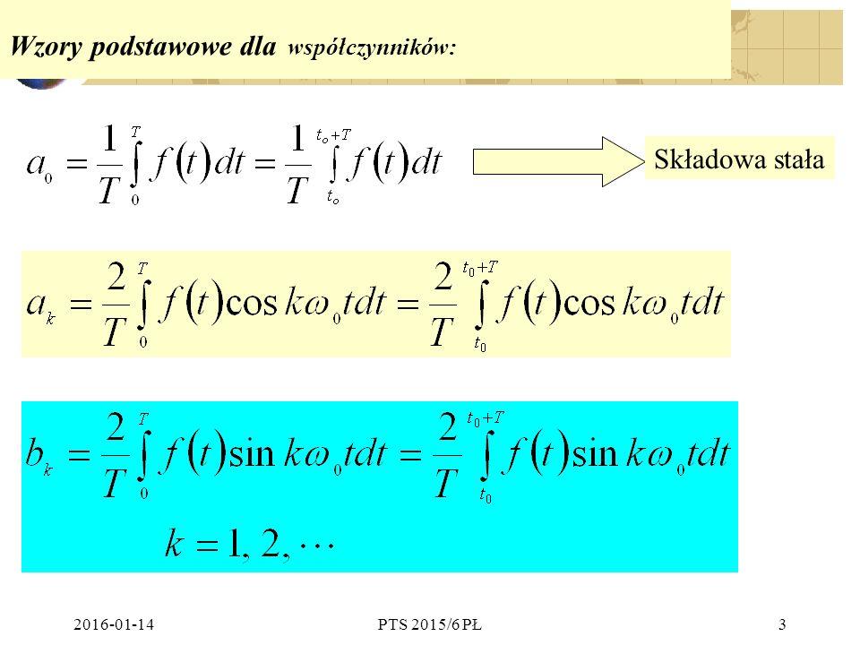 2016-01-14PTS 2015/6 PŁ34 Podsumowanie:  Funkcję okresową f(t) o okresie T można przedstawić w postaci szeregu utworzonego ze składowej stałej oraz funkcji sinusoidalnych o częstotliwościach kf (k  )  Istnieją trzy postacie szeregu Fouriera  Suma składowej stałej i harmonicznych o postaci gdzie