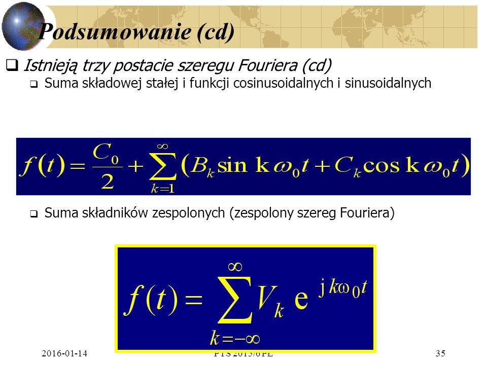 2016-01-14PTS 2015/6 PŁ35 Podsumowanie (cd)  Istnieją trzy postacie szeregu Fouriera (cd)  Suma składowej stałej i funkcji cosinusoidalnych i sinusoidalnych  Suma składników zespolonych (zespolony szereg Fouriera)