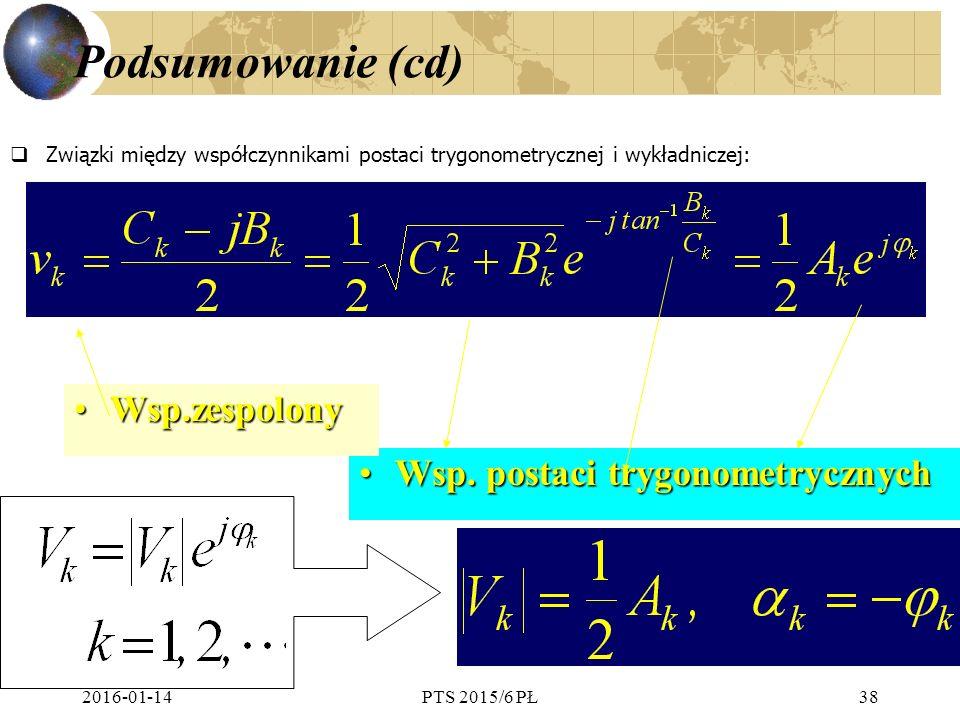 2016-01-14PTS 2015/6 PŁ38 Podsumowanie (cd)  Związki między współczynnikami postaci trygonometrycznej i wykładniczej: Wsp.