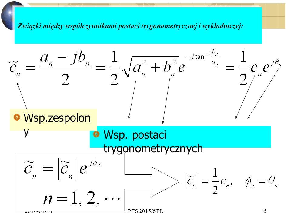 2016-01-14PTS 2015/6 PŁ6 Związki między współczynnikami postaci trygonometrycznej i wykładniczej: Wsp.