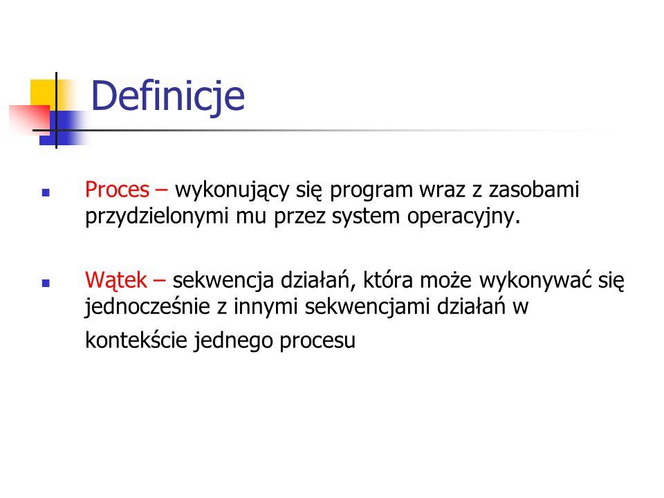 Definicje Proces – wykonujący się program wraz z zasobami przydzielonymi mu przez system operacyjny. Wątek – sekwencja działań, która może wykonywać s