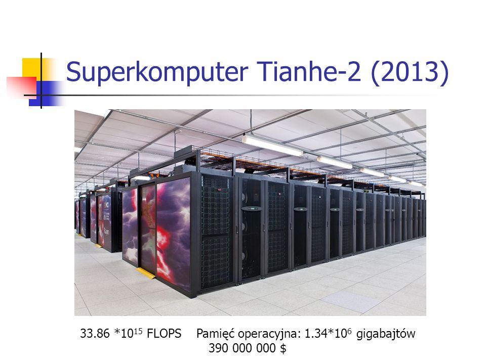Superkomputer Tianhe-2 (2013) 33.86 *10 15 FLOPS Pamięć operacyjna: 1.34*10 6 gigabajtów 390 000 000 $