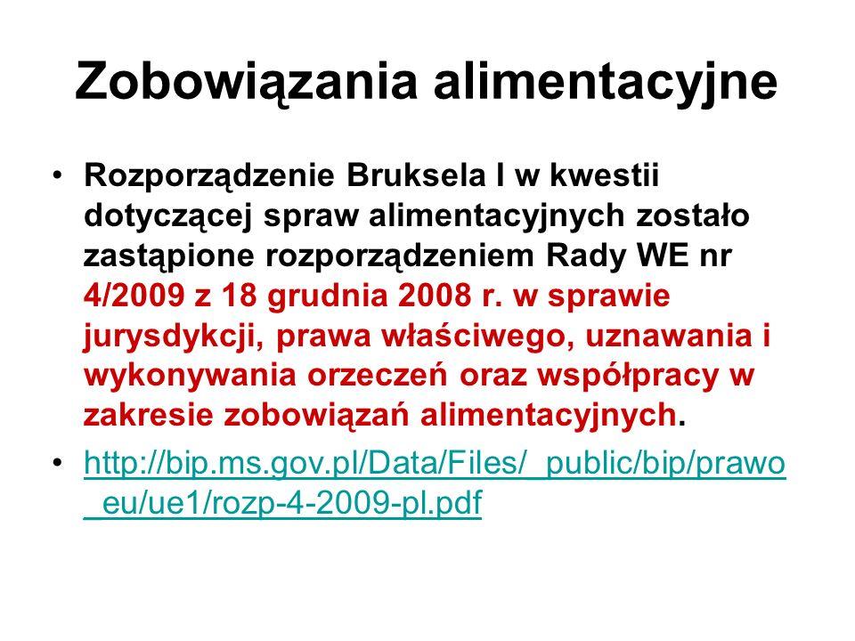 Zobowiązania alimentacyjne Rozporządzenie Bruksela I w kwestii dotyczącej spraw alimentacyjnych zostało zastąpione rozporządzeniem Rady WE nr 4/2009 z 18 grudnia 2008 r.