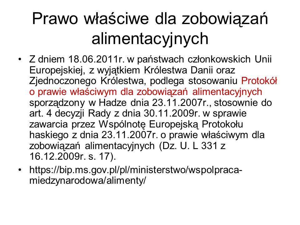 Prawo właściwe dla zobowiązań alimentacyjnych Z dniem 18.06.2011r.