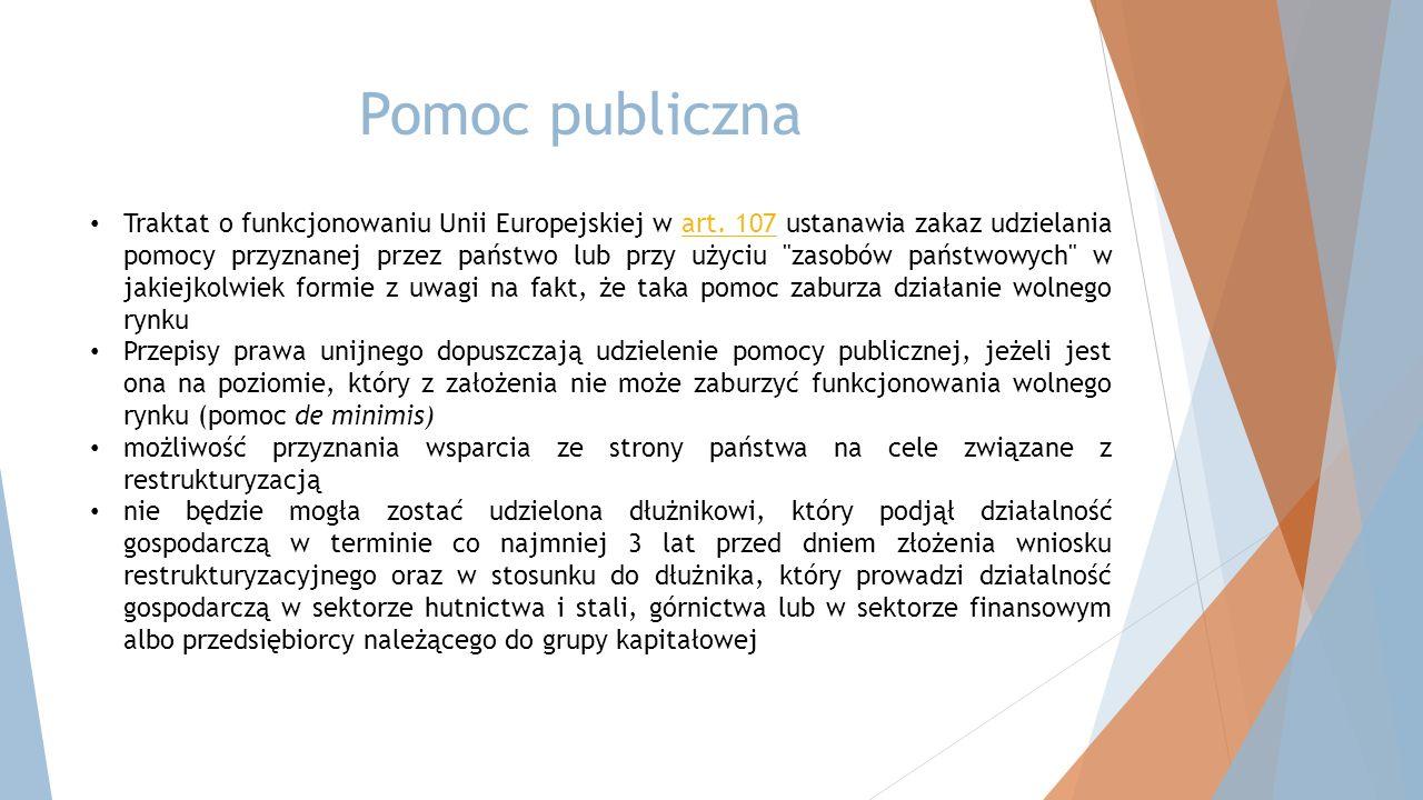 Pomoc publiczna Traktat o funkcjonowaniu Unii Europejskiej w art.