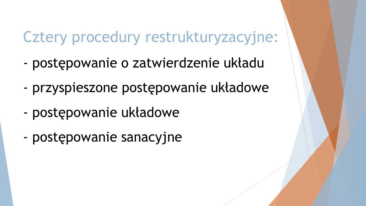 Cztery procedury restrukturyzacyjne: - postępowanie o zatwierdzenie układu - przyspieszone postępowanie układowe - postępowanie układowe - postępowani