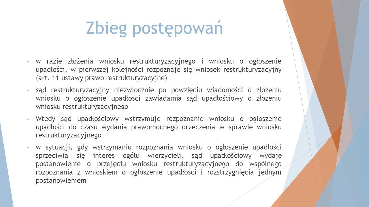 Zbieg postępowań w razie złożenia wniosku restrukturyzacyjnego i wniosku o ogłoszenie upadłości, w pierwszej kolejności rozpoznaje się wniosek restruk
