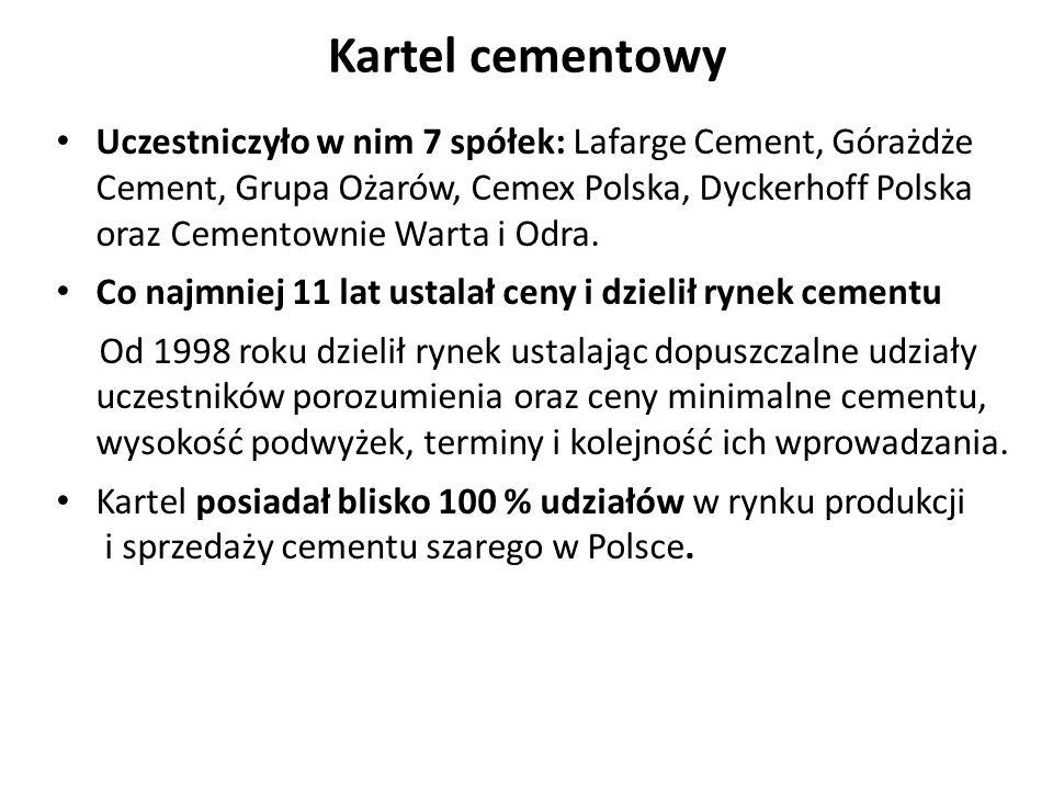 Kartel cementowy Uczestniczyło w nim 7 spółek: Lafarge Cement, Górażdże Cement, Grupa Ożarów, Cemex Polska, Dyckerhoff Polska oraz Cementownie Warta i Odra.