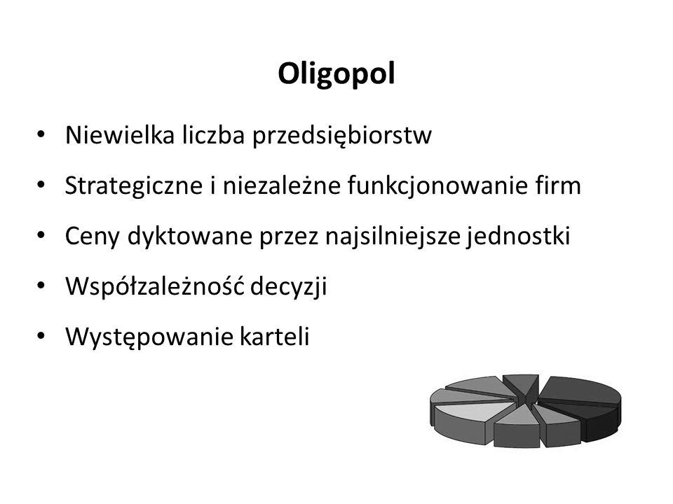 Oligopol Niewielka liczba przedsiębiorstw Strategiczne i niezależne funkcjonowanie firm Ceny dyktowane przez najsilniejsze jednostki Współzależność decyzji Występowanie karteli