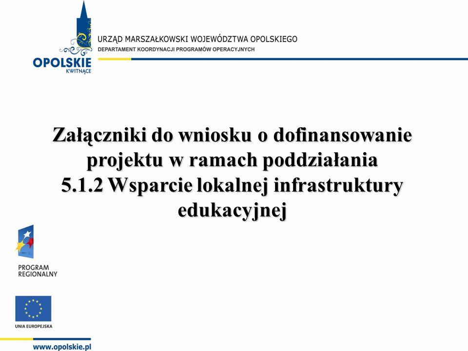Załączniki do wniosku o dofinansowanie projektu w ramach poddziałania 5.1.2 Wsparcie lokalnej infrastruktury edukacyjnej