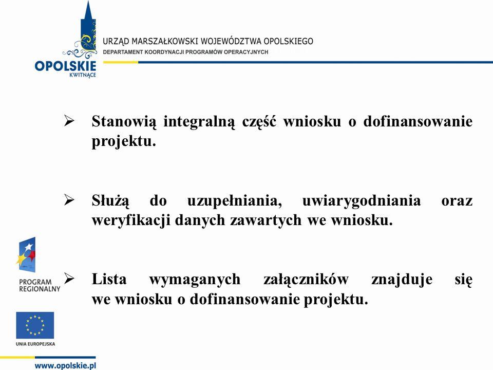  Stanowią integralną część wniosku o dofinansowanie projektu.  Służą do uzupełniania, uwiarygodniania oraz weryfikacji danych zawartych we wniosku.