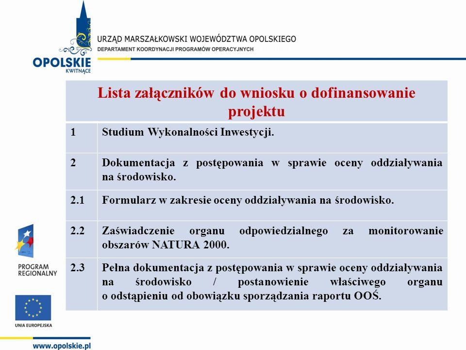 Lista załączników do wniosku o dofinansowanie projektu 1Studium Wykonalności Inwestycji. 2Dokumentacja z postępowania w sprawie oceny oddziaływania na