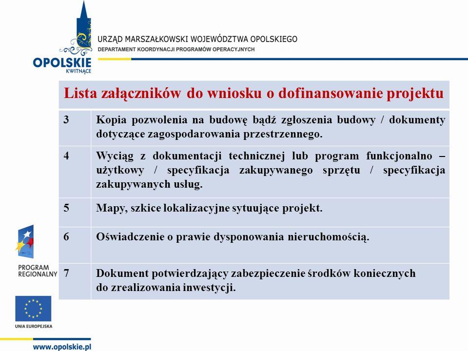 Lista załączników do wniosku o dofinansowanie projektu 3Kopia pozwolenia na budowę bądź zgłoszenia budowy / dokumenty dotyczące zagospodarowania przes