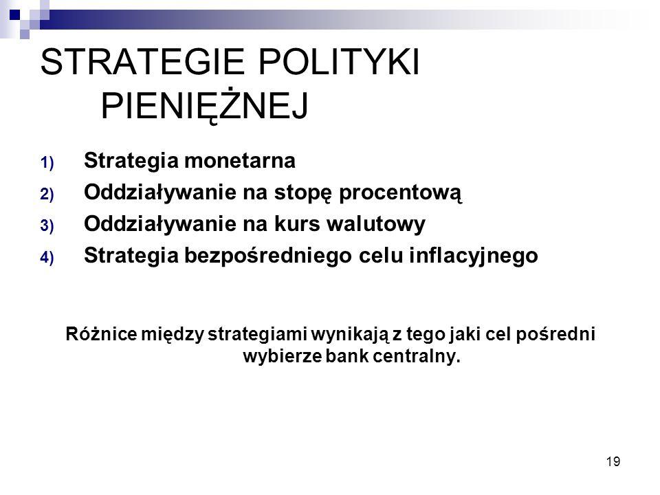 19 STRATEGIE POLITYKI PIENIĘŻNEJ 1) Strategia monetarna 2) Oddziaływanie na stopę procentową 3) Oddziaływanie na kurs walutowy 4) Strategia bezpośredniego celu inflacyjnego Różnice między strategiami wynikają z tego jaki cel pośredni wybierze bank centralny.