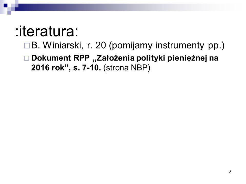 """:iteratura:  B. Winiarski, r. 20 (pomijamy instrumenty pp.)  Dokument RPP """"Założenia polityki pieniężnej na 2016 rok"""", s. 7-10. (strona NBP) 2"""