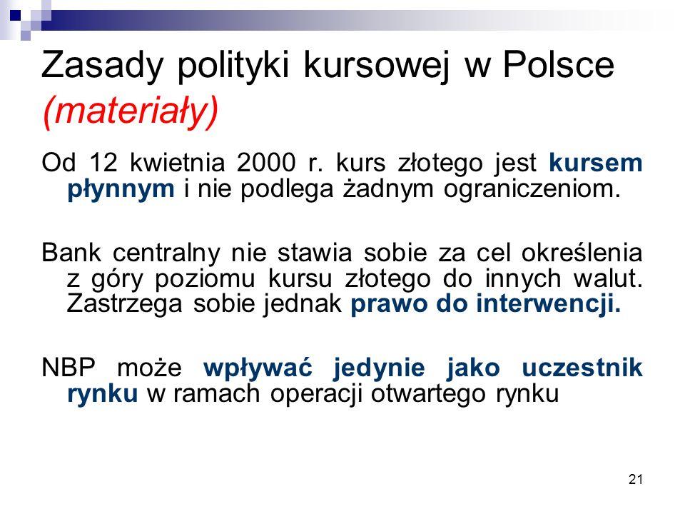 21 Zasady polityki kursowej w Polsce (materiały) Od 12 kwietnia 2000 r. kurs złotego jest kursem płynnym i nie podlega żadnym ograniczeniom. Bank cent