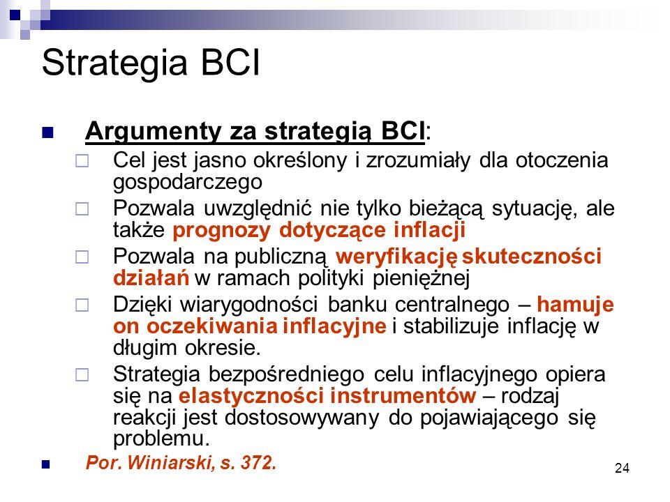 24 Strategia BCI Argumenty za strategią BCI:  Cel jest jasno określony i zrozumiały dla otoczenia gospodarczego  Pozwala uwzględnić nie tylko bieżąc