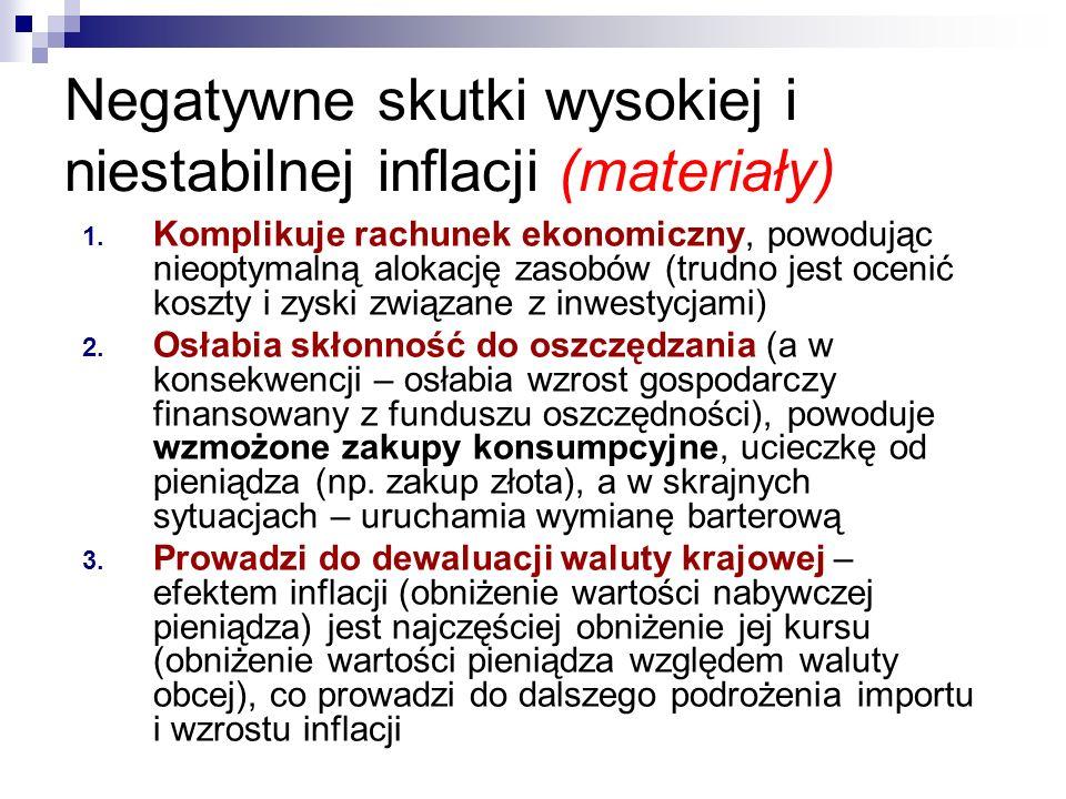 Negatywne skutki wysokiej i niestabilnej inflacji (materiały) 1. Komplikuje rachunek ekonomiczny, powodując nieoptymalną alokację zasobów (trudno jest
