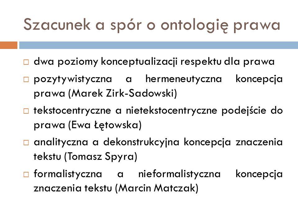 Szacunek a spór o ontologię prawa  dwa poziomy konceptualizacji respektu dla prawa  pozytywistyczna a hermeneutyczna koncepcja prawa (Marek Zirk-Sad