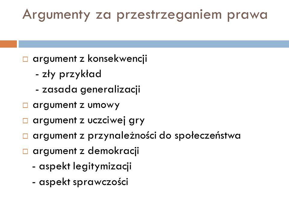 Argumenty za przestrzeganiem prawa  argument z konsekwencji - zły przykład - zasada generalizacji  argument z umowy  argument z uczciwej gry  argu