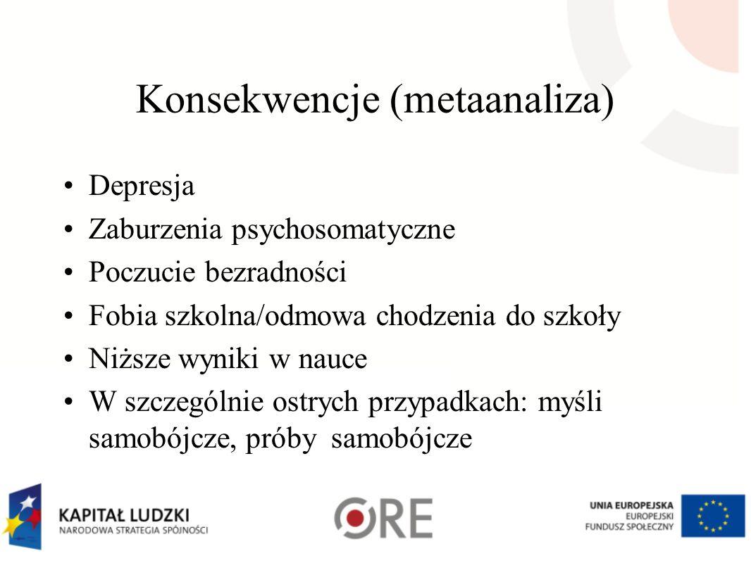 Konsekwencje (metaanaliza) Depresja Zaburzenia psychosomatyczne Poczucie bezradności Fobia szkolna/odmowa chodzenia do szkoły Niższe wyniki w nauce W