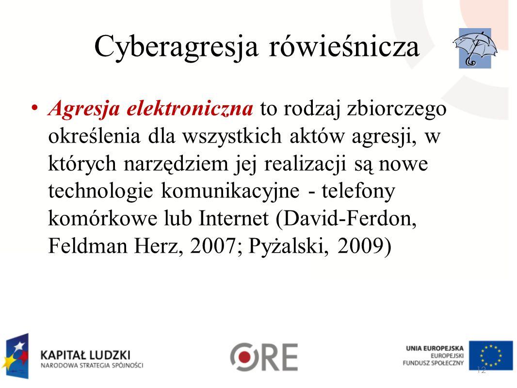 Cyberagresja rówieśnicza Agresja elektroniczna to rodzaj zbiorczego określenia dla wszystkich aktów agresji, w których narzędziem jej realizacji są no