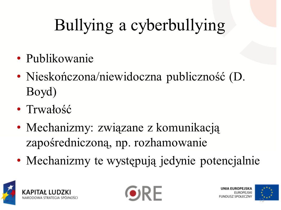 Bullying a cyberbullying Publikowanie Nieskończona/niewidoczna publiczność (D. Boyd) Trwałość Mechanizmy: związane z komunikacją zapośredniczoną, np.