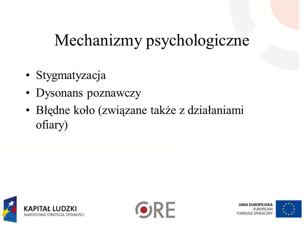 Mechanizmy psychologiczne Stygmatyzacja Dysonans poznawczy Błędne koło (związane także z działaniami ofiary)