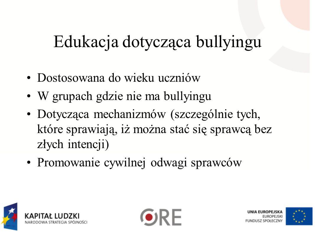 Edukacja dotycząca bullyingu Dostosowana do wieku uczniów W grupach gdzie nie ma bullyingu Dotycząca mechanizmów (szczególnie tych, które sprawiają, i